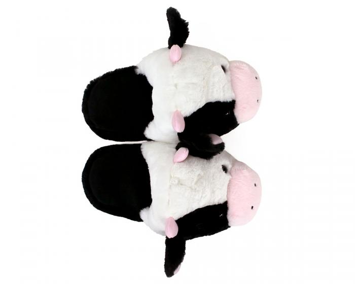Fuzzy Cow Slippers Top View