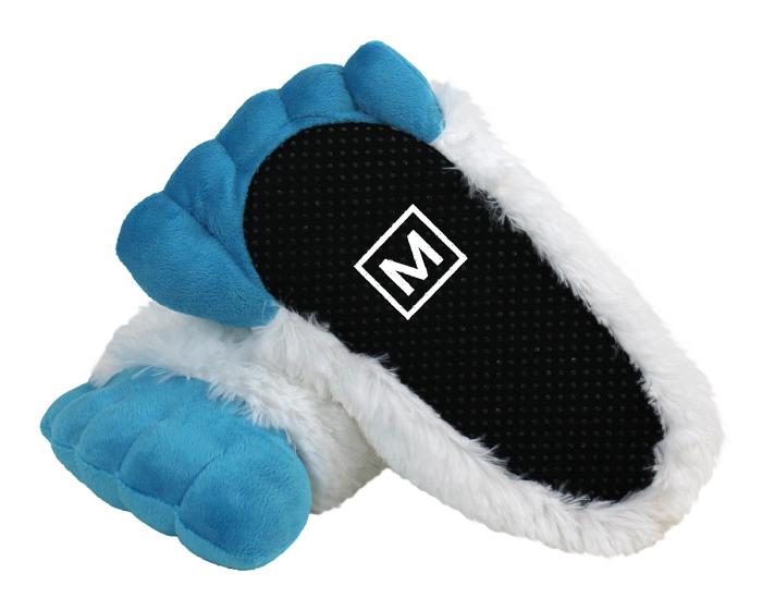 Abominable Snowman Yeti Feet Slippers Bottom View