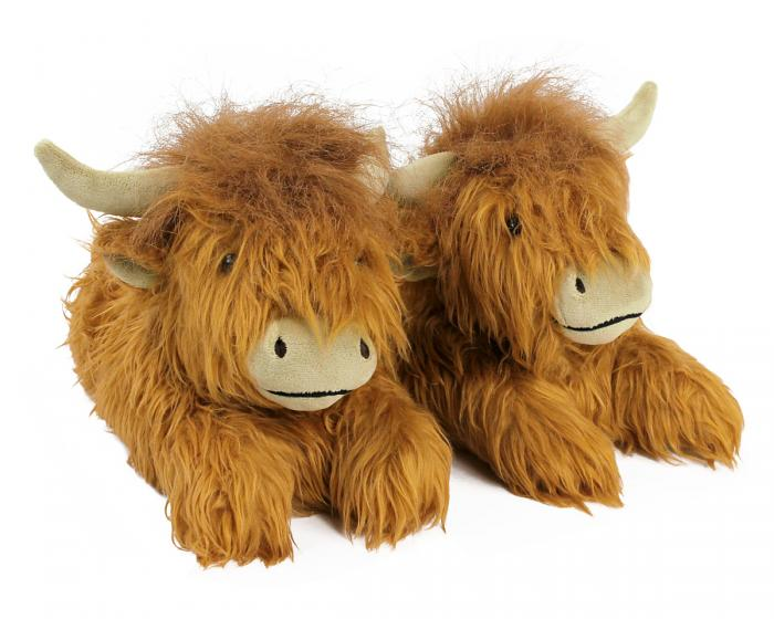 Highland Cattle Slippers 3/4 View