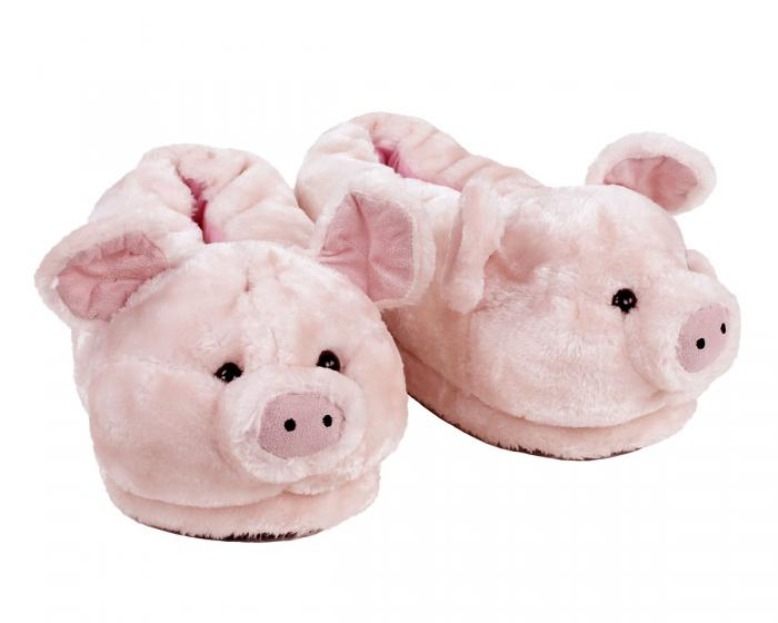 Pink Pig Animal Slippers 3/4 View