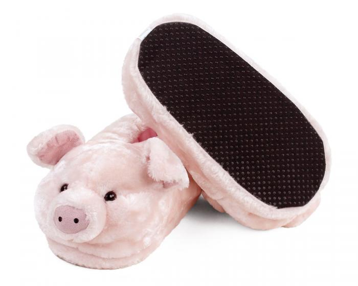 Pink Pig Animal Slippers Bottom View