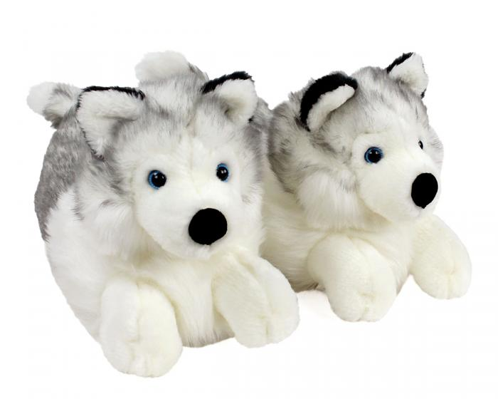 Husky Dog Slippers 3/4 View