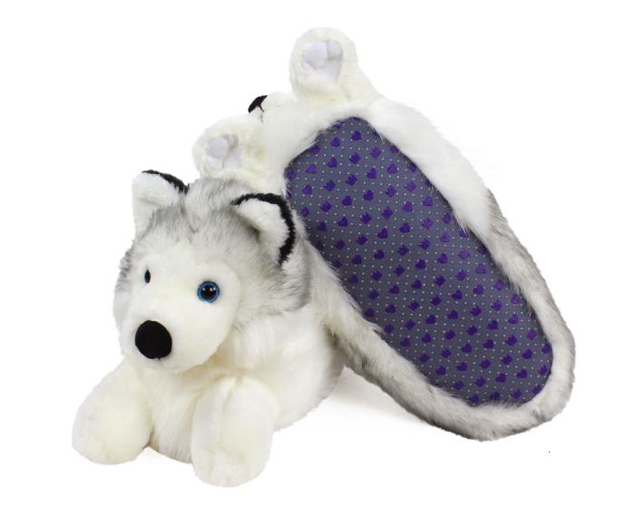 Husky Dog Slippers Bottom View
