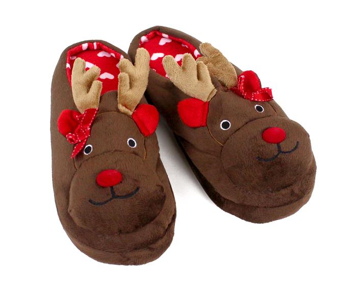 Rudolph Reindeer Slippers 3/4 View