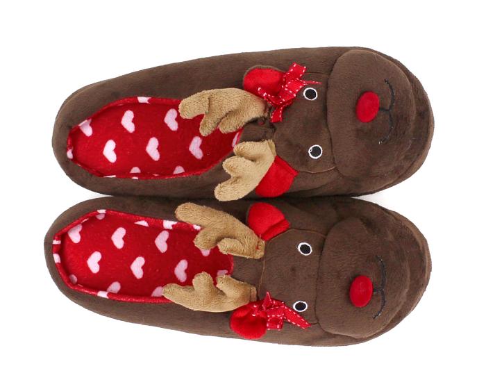 Rudolph Reindeer Slippers Top View