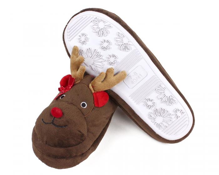 Rudolph Reindeer Slippers Bottom View