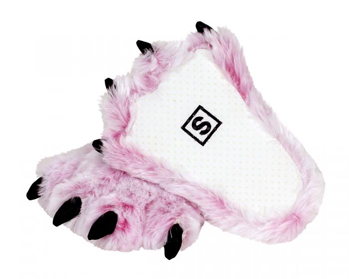 Pink Tiger Paw Slippers Bottom View