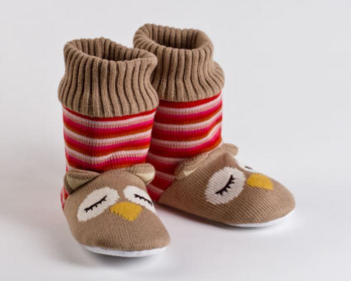 Knitted Sock Owl Slippers 1