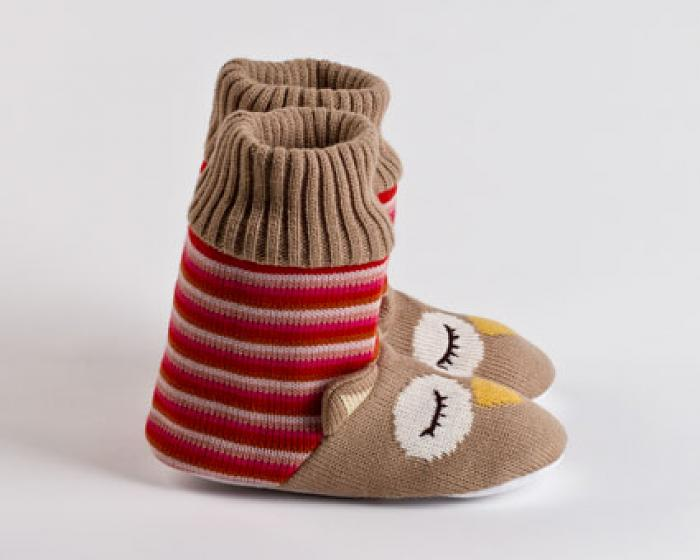 Knitted Sock Owl Slippers 2