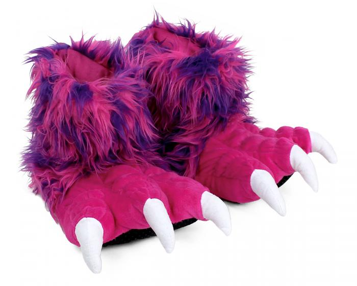Pink Monster Claw Slippers 3/4 View