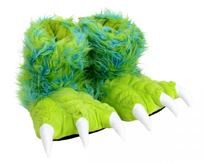 Green Monster Claw Slippers 3/4 View