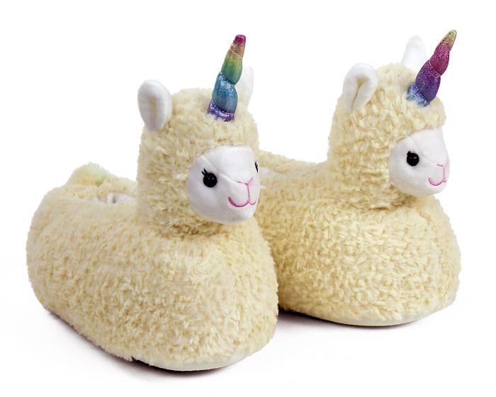 Llama Unicorn Slippers 3/4 View