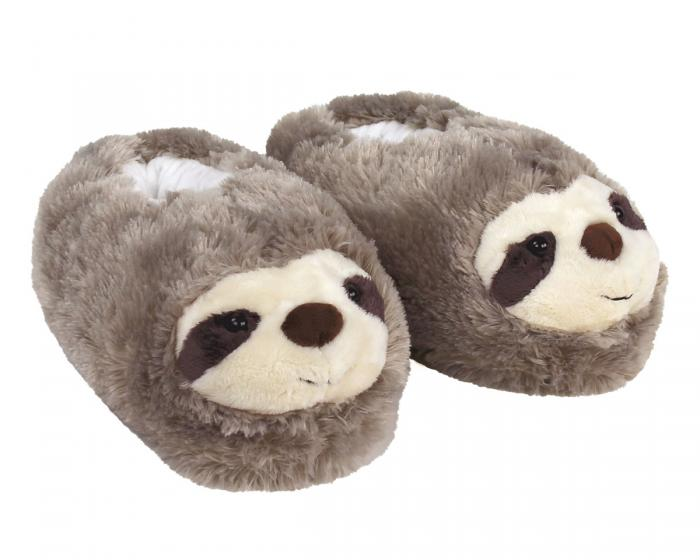 Fuzzy Sloth Slippers 3/4 View