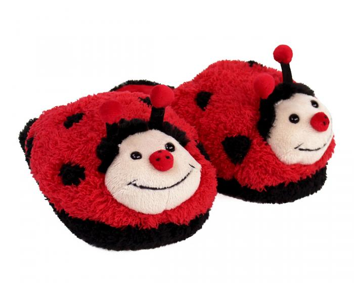 Kids Fuzzy Lady Bug Slippers 3/4 View