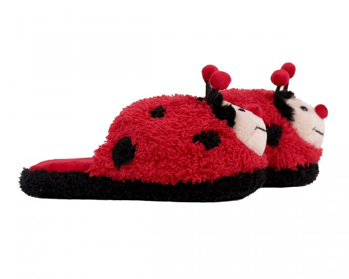 Kids Fuzzy Lady Bug Slippers Side View
