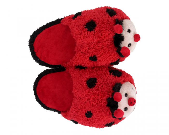 Kids Fuzzy Lady Bug Slippers Top View