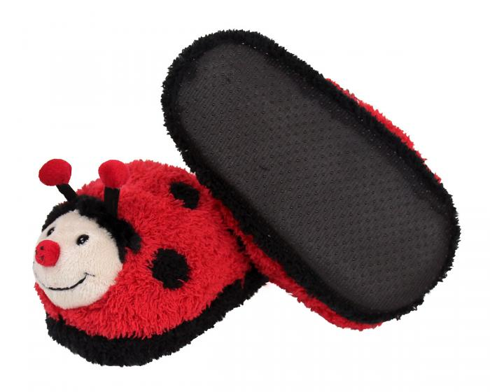 Kids Fuzzy Lady Bug Slippers Bottom View