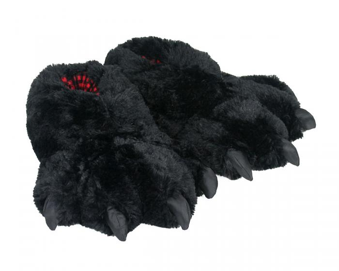 Black Bear Paw Slippers 3/4 View