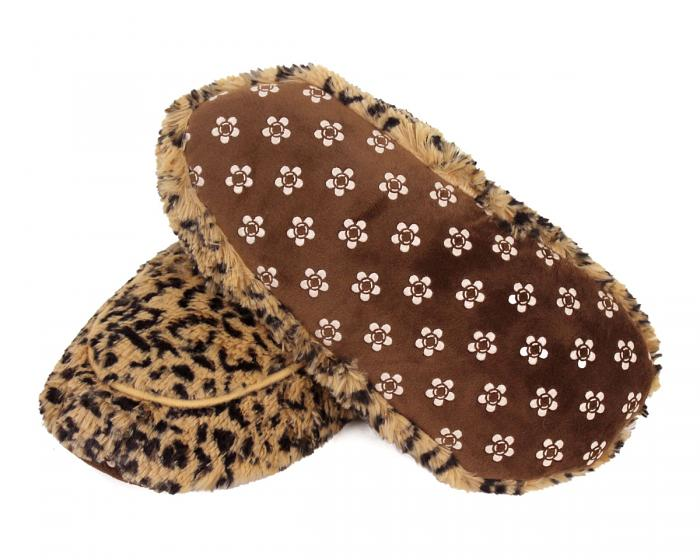 Cozy Leopard Slipper Booties Bottom View