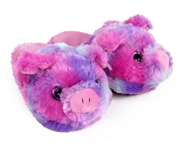 Kids Rainbow Pig Slippers 3/4 View