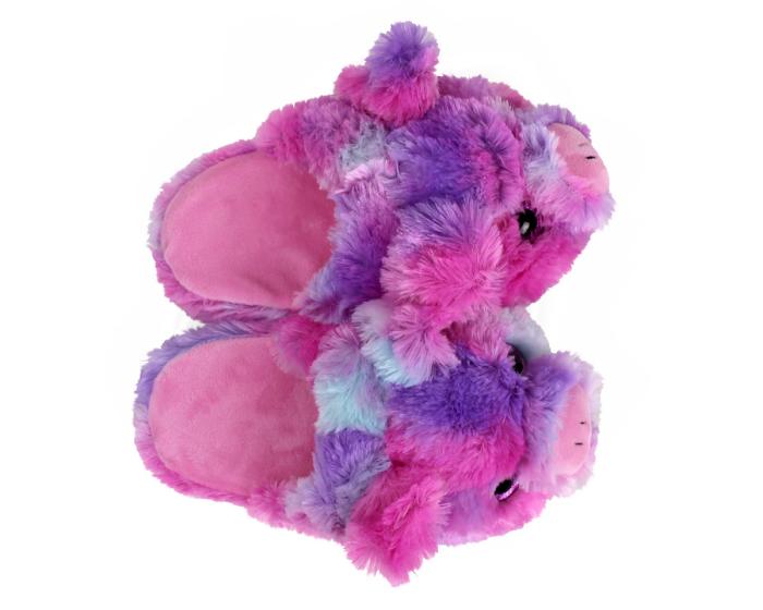 Kids Rainbow Pig Slippers Top View