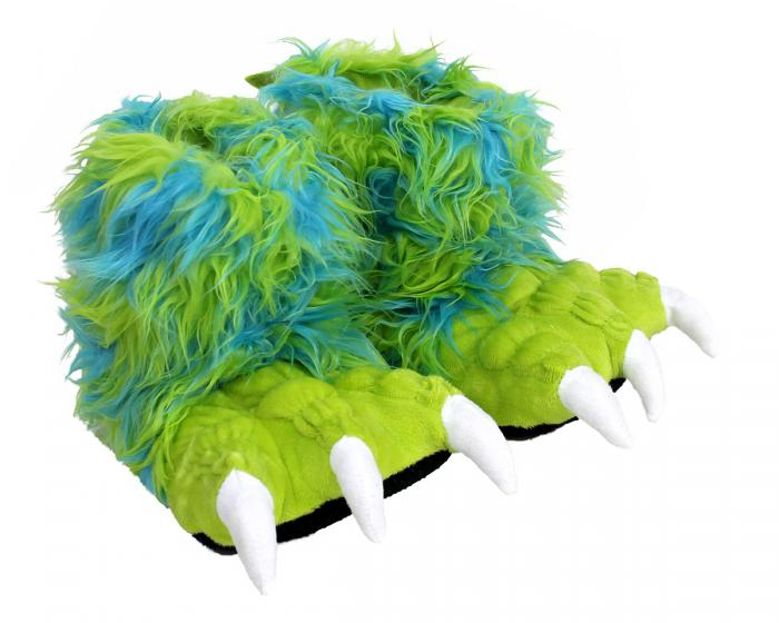 Kids Green Monster Claw Slippers 3/4 View