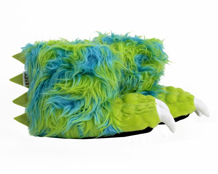Kids Green Monster Claw Slippers Side View