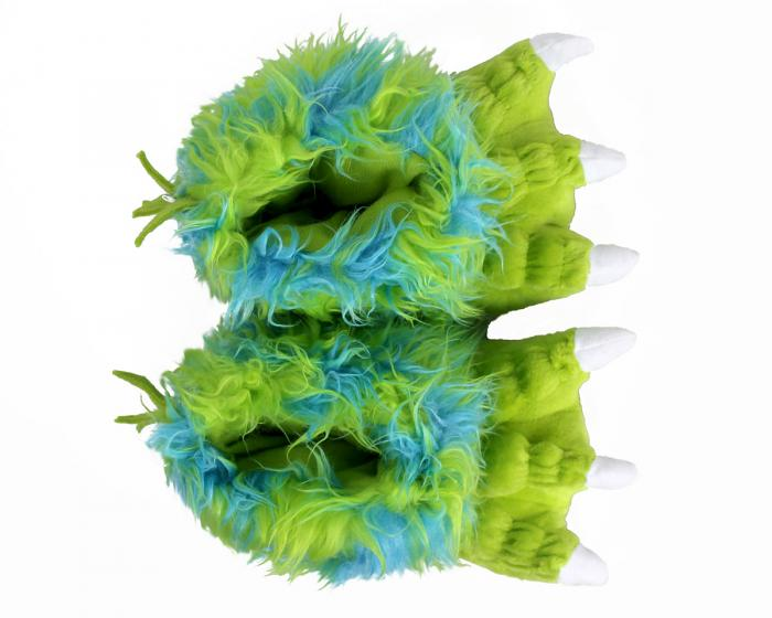 Kids Green Monster Claw Slippers Top View