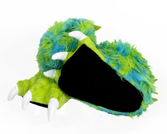 Kids Green Monster Claw Slippers Bottom View