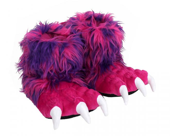 Kids Pink Monster Claw Slippers 3/4 View