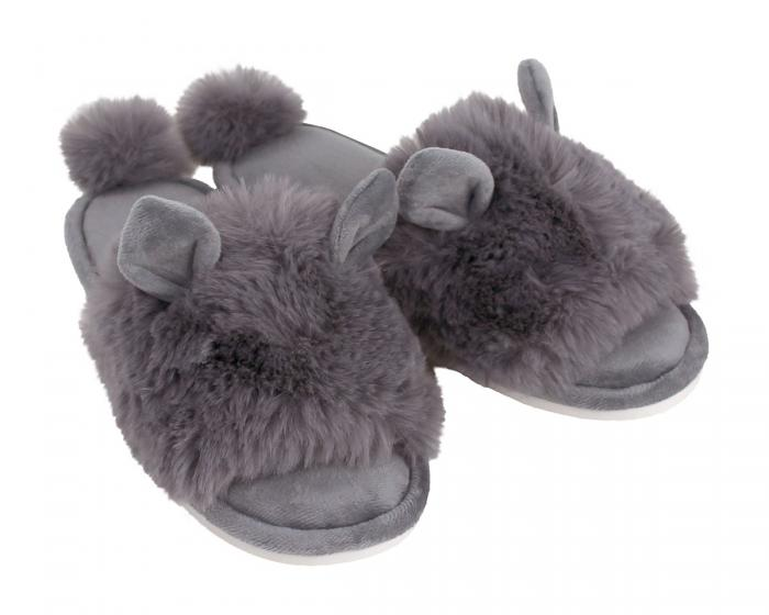 Grey Bunny Hop Slippers 3/4 View