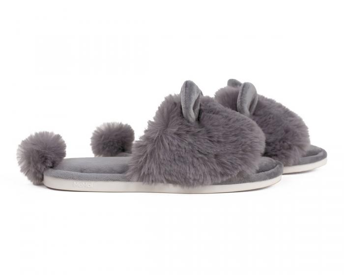 Grey Bunny Hop Slippers Side View