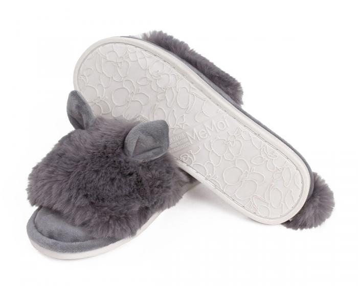 Grey Bunny Hop Slippers Bottom View