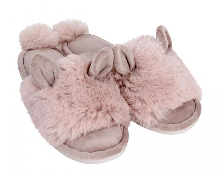 Pink Bunny Hop Slippers 3/4 View