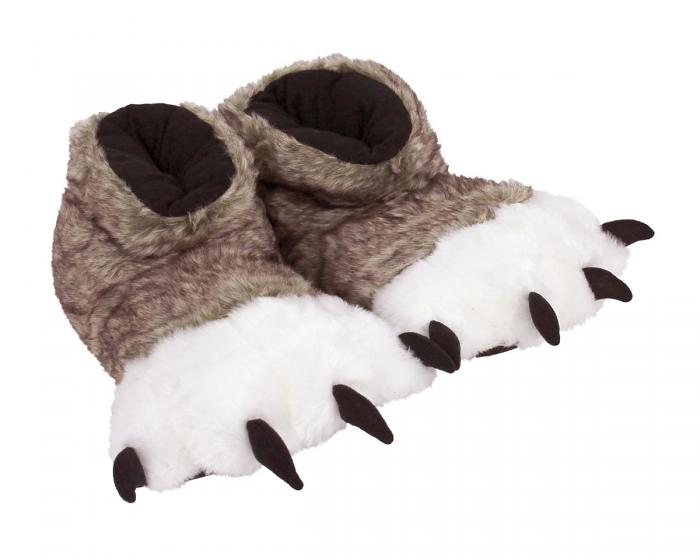 Brown Wolf Paw Slippers 3/4 View