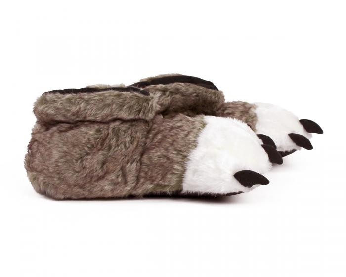 Brown Wolf Paw Slippers Side View