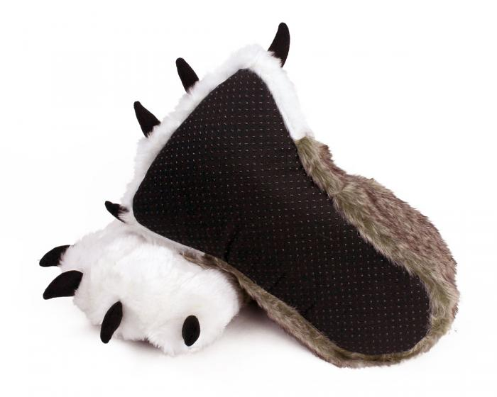 Brown Wolf Paw Slippers Bottom View