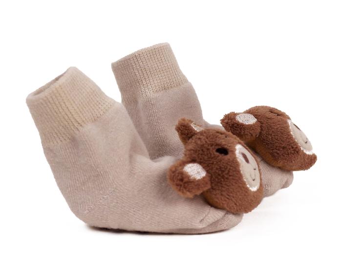 Teddy Bear Baby Rattle Socks Side View