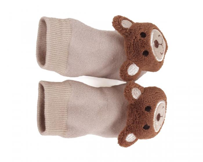 Teddy Bear Baby Rattle Socks Top View