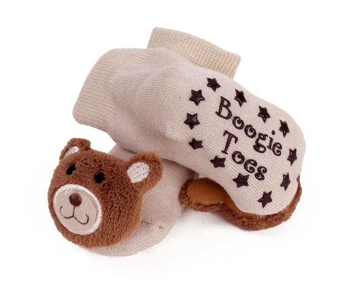 Teddy Bear Baby Rattle Socks Bottom View