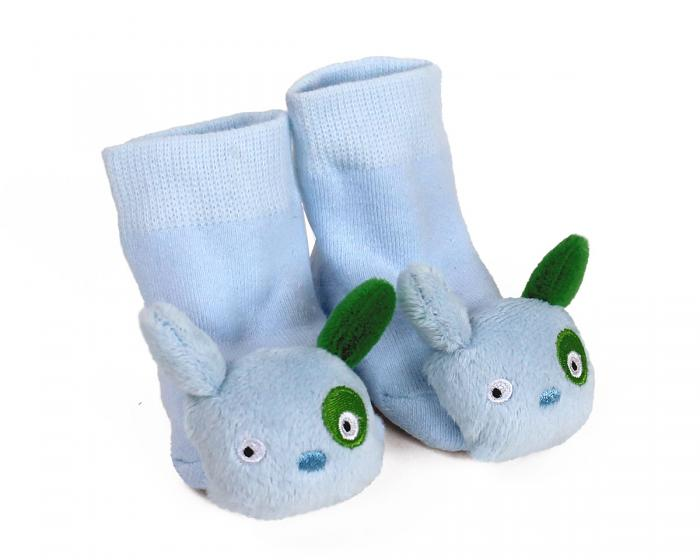 Blue Puppy Baby Rattle Socks 3/4 View