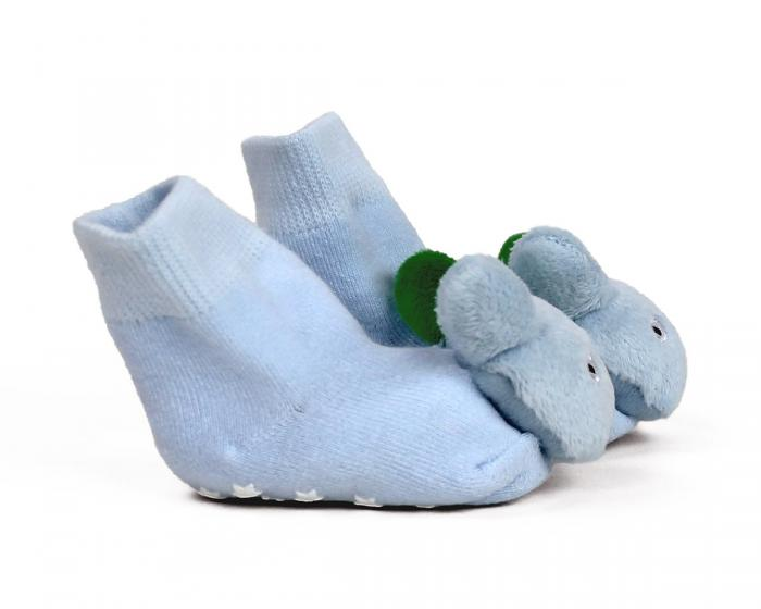 Blue Puppy Baby Rattle Socks Side View