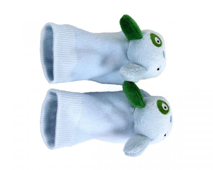 Blue Puppy Baby Rattle Socks Top View