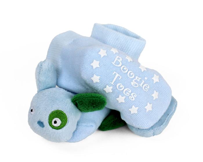 Blue Puppy Baby Rattle Socks Bottom View
