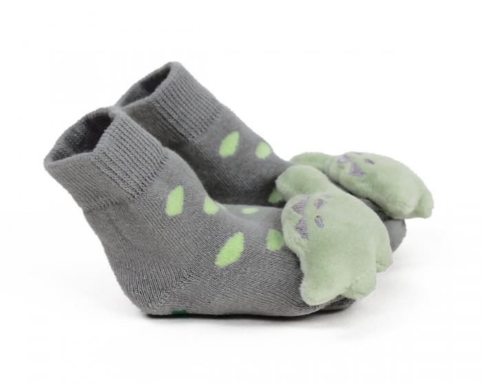 Dinosaur Baby Rattle Socks Side View