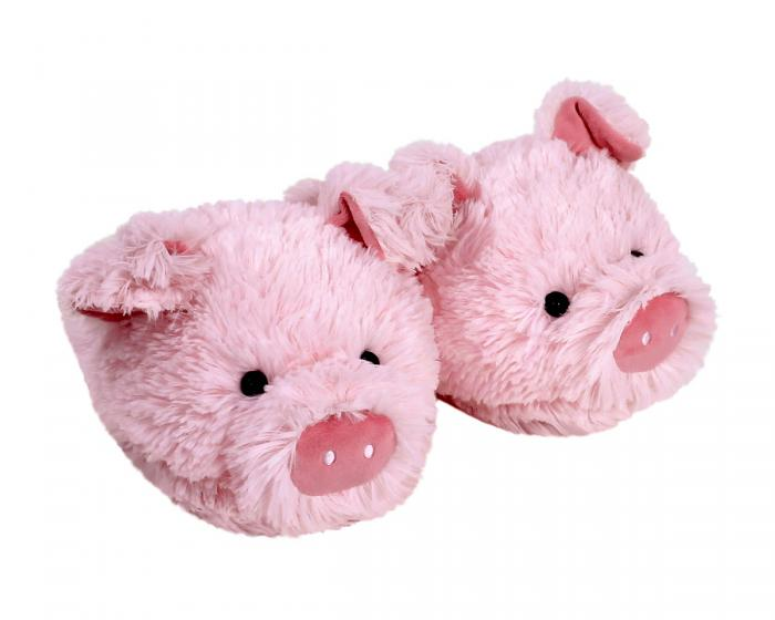 Fuzzy Pig Slippers View 1