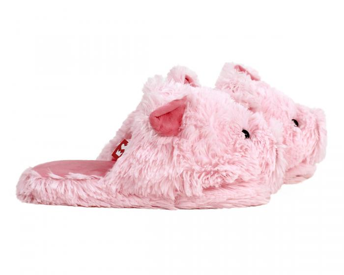 Fuzzy Pig Slippers Side View