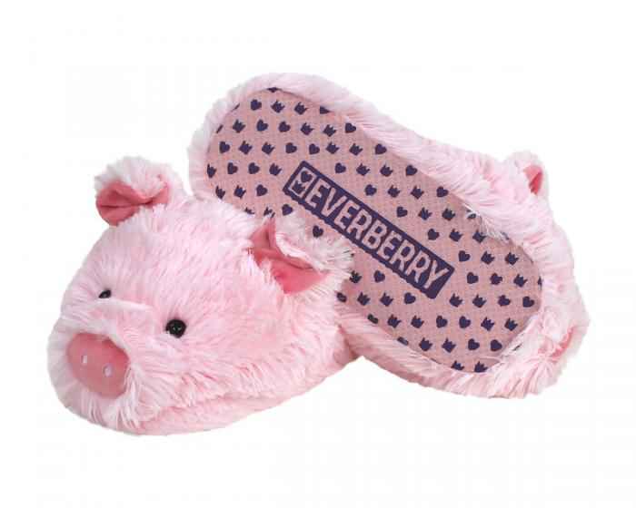 Fuzzy Pig Slippers Bottom View
