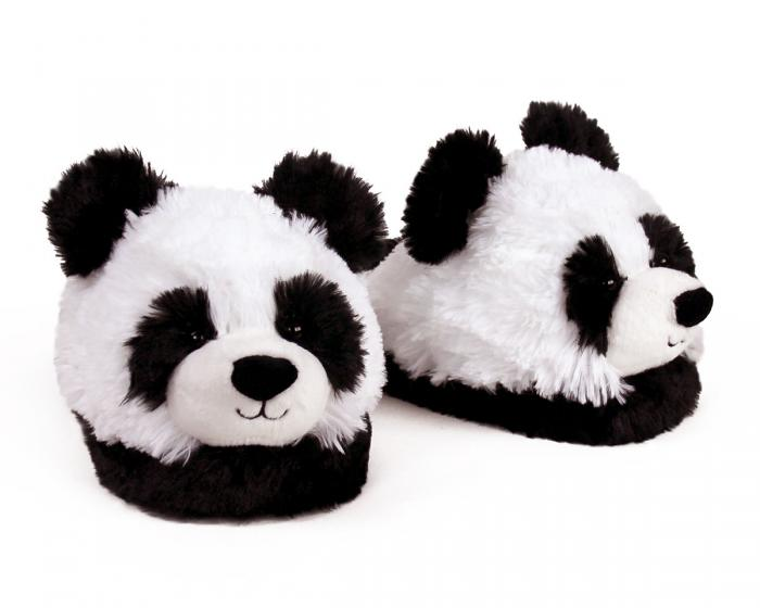 Fuzzy Panda Slippers 3/4 View