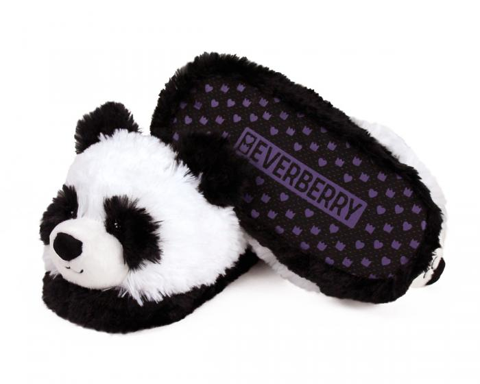 Fuzzy Panda Slippers Bottom View